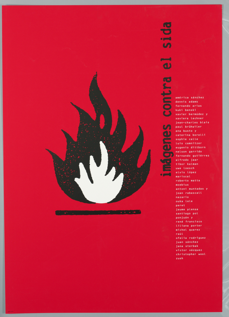 On a bright red ground, a black and white drawn flame on a horizontal plane. Text on right side in black the title: imagenes contra el sida; column of white text: list of names.