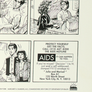 Comic book-style poster dealing with AIDS.