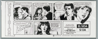 Design on both sides. Comic book-style poster dealing with AIDS.