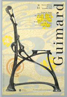 """Exhibition poster for works of Hector Guimard at Musée d'Orsay in Paris. Photographic reproduction of profile view of iron chair in art nouveau style.  Incised at rear leg: """"Style Guimard"""".  Chair against photographic reproduction of wall covering of large swirls of silver, yellow, and orange on repetition of beige swirl motifs.  Picture shows  water stain damage on wall covering at top center.  Imprinted """"Guimard"""" (in black) at top center. Imprinted at top right: logo """"Musée d'Orsay/ 15 avril/ 26 juillet 1992/ Fermé le lundi./ Ouvert le dimanche/ de 9 heures à 21 heures 45, tous les autres jours/ de 10 heures à 18 heures./  A partir du 20 juin,/ ouverture tous les jours dès 9 heures"""" (all right justified).   Imprinted """"© Ministère de la Culture et de la Communication-Impression: Auclair-Maquette: Didier Chapelot - IA 100675"""" (in black) at bottom left edge.  Credits at bottom."""