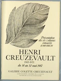 Poster, Henri Creuzevault, Galerie Colette Creuzevault