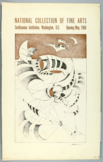 Vertical format poster. On cream ground, reproduction of a modern abstract work of art in black and brown tones depicting sail-like forms connected by dotted lines. Printed text above.