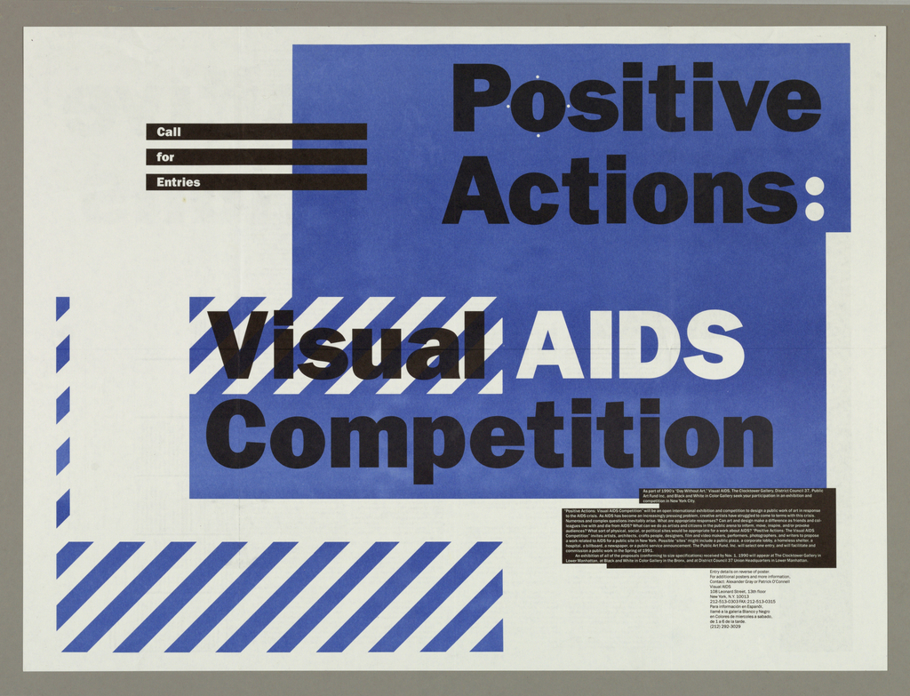 Text in white and black; part on blue ground: Positive / Actions: Visual AIDS / Competition. Lower left bordered by stripes of blue and white. Upper left, three black horizontal stripes with white text: Call / for / Entries. Long text in black box at lower right. Entry information.