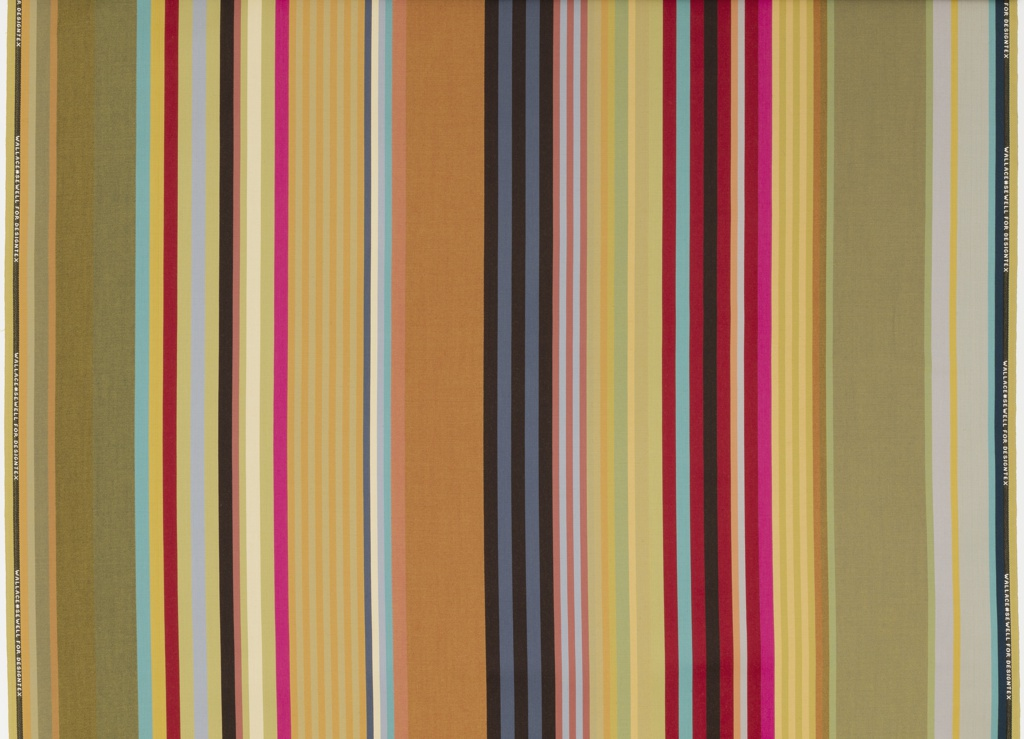 Wool upholstery with irregular stripes in bright jewel tones.