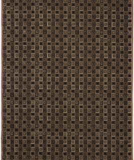 Pattern of concentric squares in cut and uncut pile, in shades of browns, purples, and off-white.