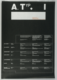 Poster advertising a series of seminars taught at the College of Design, Basel Printed in silver on black with red.  The letters A. Typo 1 , unevenly spaced and underlined with a heavy silver bar at upper center. The text Working Seminar / November 18 to 23, 1973 / College of Design, Basel is printed in red. Below, and outlined in silver, are four columns listing names of participants at left and at right in English, French and German translations, the topics discussed.
