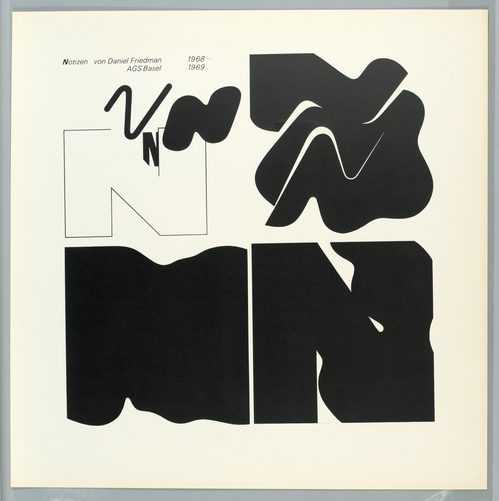 """Design is divided into four graphically stylized square areas utilizing flat black on a white ground.  The letter """"N"""" (for Notizen) is the abstracted design motif."""