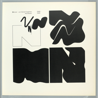 "Design is divided into four graphically stylized square areas utilizing flat black on a white ground.  The letter ""N"" (for Notizen) is the abstracted design motif."
