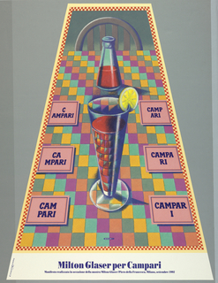Poster depicting a trapezoidal view of a table with a chair at the top, framed by red and white checkers; tablecloth in colorful checkered pattern. A tall glass, reflecting checkered tablecloth, filled with reddish brown liquid and lemon slice on the rim before a bottle containing the same liquid. Six square pink coasters line the table with blue-violet text: CAMPARI, written in different configurations. Lower margin, in blue: Milton Glaser per Campari / Manifesto realizzato in occasione de la mostra Milton Glaser/Piero Francesca. Milano, settembre 1992.