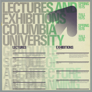 A calendar of spring and fall lectures and exhibitions organized into two columns printed in silver, blue and green.  A large purple arrow points to upper right corner which dissolves into blue dots. The lectures are arranged in the left column and the right is reserved for exhibitions. The text is printed in large letters that gradually change from silver to green, moving from left to right. See notes for list of lecturers and exhibitions.
