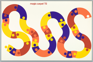 Poster depicts a winding path composed of red, blue, yellow, and orange segments with colored dots. Above in red ink: magic carpet '72.