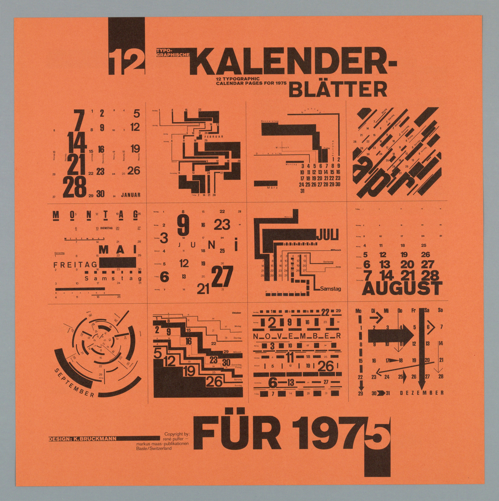"""In black ink, the calender year is divided into twelve squares. The calendar pages are unconventionally designed using various formats and sizes for both fonts and numbers. Printed front and back, the images are augmented by text written by the noted designer Wolfgang Weingart, arguing for the visual stimulation of well designed calendars.  The title and date appear across top sheet.  The verso is a bisected layout of a black block with German text printed in orange on the left and on the right a black and white photographic image of Weingart, his wife and two daughters walking in the country. Superimposed on the image is a black arrow with the word """"ich"""" pointing to the author.  The English translation of the text accompanies the image. (See inscriptions field for English translation.) At the lower right is an Order Form for the calendar (see notes field), and at lower left a black stripe."""