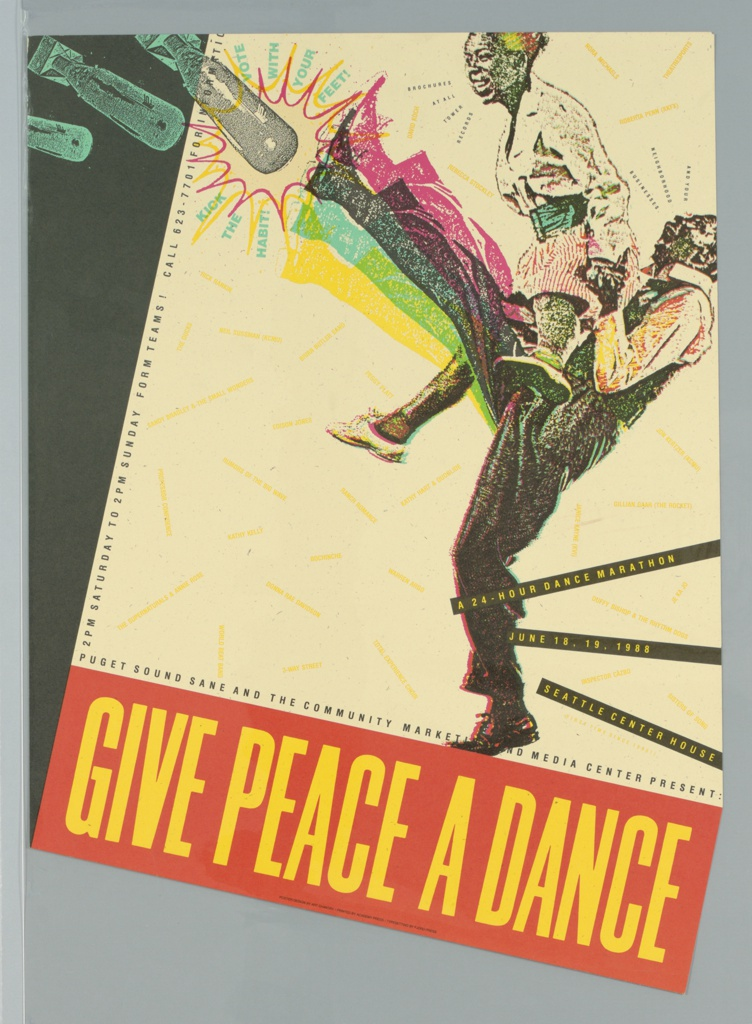 """Poster advertising """"Give Peace a Dance"""", 24-hour dance marathon at the Seattle Center House.  Pentagonal paper featuring a male dancer lifting a female dancer, his legs kicking away bombs falling from the poster's top left corner."""