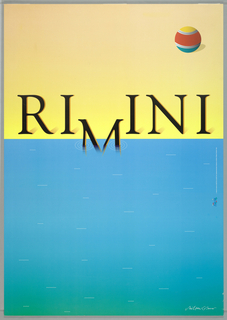 Poster depicting blue water that fills bottom 2/3 of design, with white dots (ripples). In black letters with gold trim: RIMINI [the M sinks into the water]. Striped beach ball upper right on the sand, tan-colored ground.