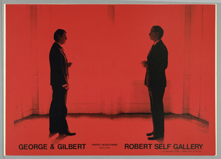 Photographic image (in black on red background) of  two men dressed in suits (self portraits of the artists).  They stand in profile facing each other in a non-descript room.
