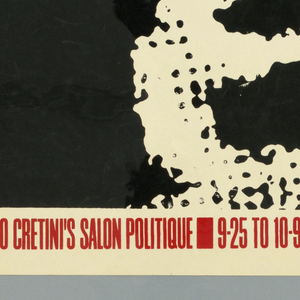 """Poster advertising """"Ready for War"""", opening at Alonzo Cretini's Salon Politique.  Man's face, facing forward, mouth agape.  Negative space printed in black, white border, white text, and highlights of man's face remaining.  Red text advertising venue and dates along bottom."""