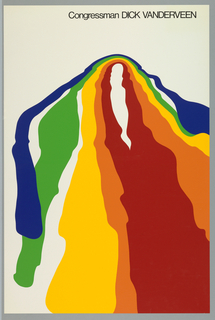 Poster depicts bands of rainbow colors in varied widths and lengths, in somewhat arc form. Above, in black: Congressman DICK VANDERVEEN.  Produced for the congressional campaign of Richard F. VanderVeen.