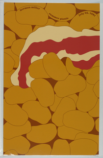 """On brown background, orange potatoes, light yellow cheese, and red tomato sauce appear as vaguely naturalistic organic shapes. Inscribed on top: """"herman miller summer picnic july 25, 1981""""."""