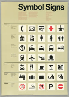 Thirty four pictographs designed as part of an international signage system to communicate important information simply and legibly. In the black, red and tan poster, the thirty four symbols present a visual vocabulary of images consistent in weight, shape and form.  The subject catagories, arranged down the left side, are Public Services, Concessions, Processing Activities and Regulations.  The actual symbols are arranged in a grid, with each catagory separated by a horizontal line. The title, in large black letters at upper edge of poster, boldly states the poster's mission.