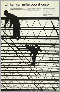 Two silhouetted construction workers on scaffolding fence. Above in black text: [logo] herman miller open house; Come to our Herman Miller Open House / Wednesday/Thursday, September 15/16, 6-9 PM; Our facilities are expanding, and we'd like / to show them to you. See our latest / manufacturing building. Then there's our / spine, which will eventually link every one / of the buildings on our site. And our just- / completed office building, the first of five / we're planning.; The Herman Miller plant facilities are on / East Main Street in Zeeland, just off M-21. / Let us show you how our innovative office / and health/science products are made. / Everyone—from the person who greets you / at the door to the tour guides who will / answer your questions—will make sure / your evening is both enjoyable / and rewarding.