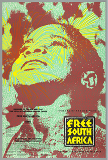 "Poster advertising ""Free South Africa"" concert featuring Rumors of the Big Wave with The Total Experience Gospel Choir.  The poster features an upturned face in red and pale green, three-quarter profile with yellow firework bursts across face."