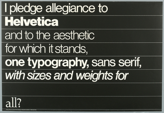 Poster, I Pledge Allegiance to Helvetica (Typography), 1980