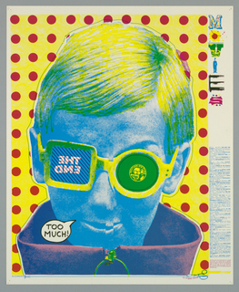 "Poster advertising ASUW movie screenings.  Features the head of a figure printed in blue, hair in yellow, and the top of the collar in purple set against red dotted pattern.  The figure wears glasses, the right lens square reading ""THE END"" in reverse, the left lens circular with an insignia captioned ""MOTION PICTURE"".  The figure is surrounded by a dotted line, with a pair of scissors captioned ""CLIP AND WEAR""."