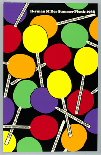 "On black background, lollipops in orange, yellow, red, green, violet randomly arranged; each lollipop stick is inscribed with a line from a popular song. Inscription at top left: ""Herman Miller Summer Picnic 1988""."