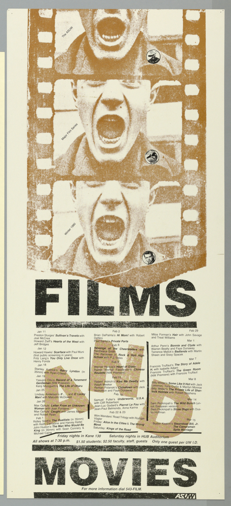 Poster advertising the ASUW's Major Film Series.  Portion of a film reel printed on top half of poster, in brown, featuring three frames of young man with mouth agape, screaming.  Small circular inserts appear at the bottom right of each frame:  Col. Tim McCoy, a winged figure, and James Dean.  Schedule of events occupies bottom half of the poster.