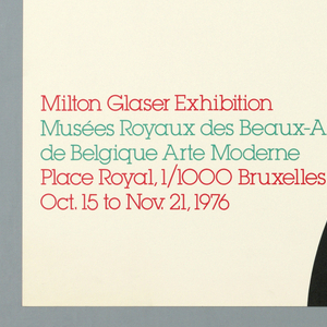 Poster depicts the partial black silhouette of a nude woman bending backwards, with contours in white, berry-red, and turquoise. Text in lower left: [in berry-red] Milton Glaser Exhibition / [in turquoise] Musées Royaux des Beaux-Arts / de Belgique Arte Moderne / [in berry-red] Place Royal, 1/1000 Bruxelles / Oct. 15 to nov. 21, 1976.