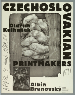 """Poster advertising """"Czechoslovakian Printmakers:  Oldrich Kulhanek, Albin Brunovsky"""" at Davidson Galleries.  Composed of two overlapping images, the largest being a pair of clasped hands emerging from a cardboard box, captioned:  """"'Intertwining (Propletence)' Color lithograph, 1985. 19 1/2 x 16 inches.""""  The smaller, overlapping at the bottom left corner of the reproduction of """"Intertwining"""", features a large six-headed dragon breathing fire, captioned:  """"'The Drunken Dragon' Etching. 1990. 7 1/2 x 5 inches."""""""