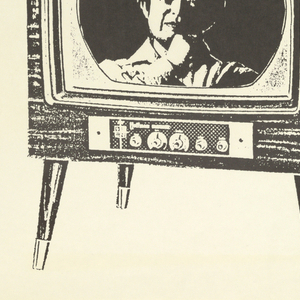 "Poster advertising ""Video Babies and the Mountain:  A simular video environment"" by Nam June Pak at the Broadway Market.  Features a rendering of an early model television set, elongated and distorted with a woman's face on the screen.  Title of the show runs horizontally along the left side of the poster."