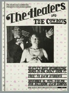 Poster advertising The Heaters and The Cowboys concert for ASUW homecoming.  Features greyscale print of hypnotist mesmerizing woman, lightning bolts emanating from his eyes as she stares blankly forward.  Small design drawings in puprle and black crosshairs form a background pattern.