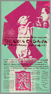 """Poster advertising """"The Coca Cabana:  A Performance Art Cabaret"""" at the Center on Contemporary Art.  Features a dog smoking a cigarette standing on hind legs facing a man smoking a cigarette, regarding one another.  The man's face and dog's entirety are situated in magenta planes of color, background in turquoise.  Text advertising venue and details occupies bottom third of poster."""