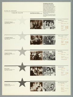 Exhibition poster with schedule of events for the Department of Urban Outreach of he Philadelphia Museum of Art. Poster design is divided into five horizontal sections, each dominated by a pairing of a reproduction of an old photograph and a contemporary one. The images are placed to the left of center of the design while at the extreme left appears an accompanying star.  At the right are the specific locations throughout the city where the exhibitions and programs are held. The focus groups are Jewish, Italian, Black, Puerto Rican, Chinese.