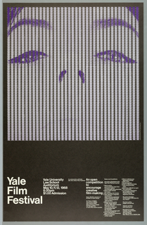 Close-up of the upper part of a woman's face, printed in purple. The face is composed of hundereds of smaller versions of the same image, arranged in columns which, from a distance, create the impression of vertical stripes. Beneath this, white text on black ground promotes a Yale Film Festival.