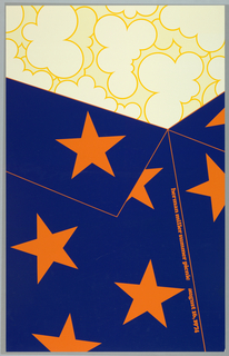 Poster depicts a close-up cropped view of a shirt in blue with orange stars. Above, as though wearing the shirt, outlines of yellow clouds. Text in orange: herman miller summer picnic  august 16, 1974.