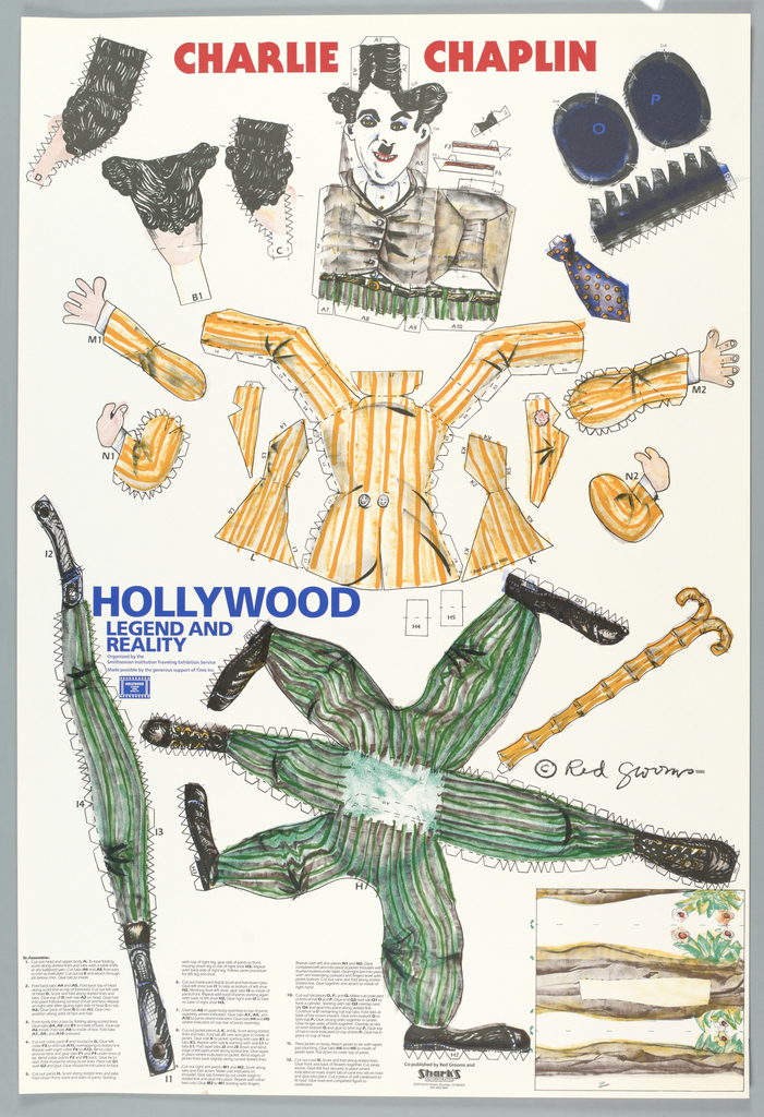 Poster features a Charlie Chaplin cut-out doll with all pieces hand drawn.