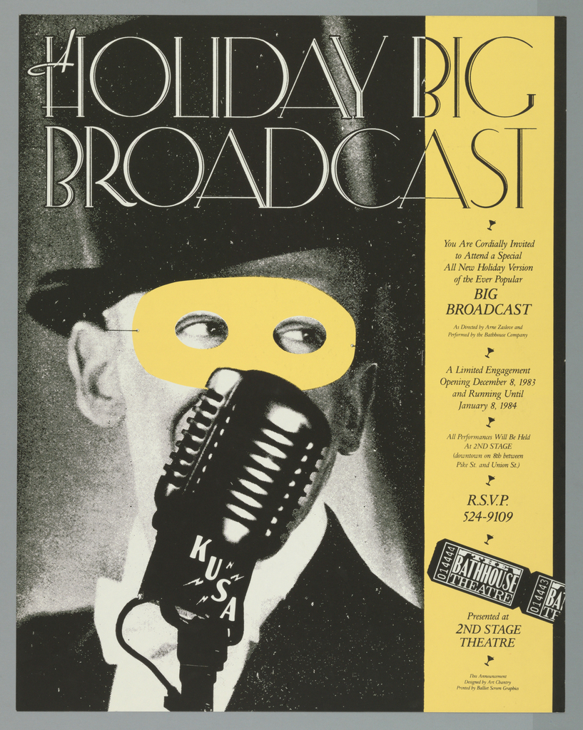 """Poster advertising Arne Zaslove's """"Holiday Big Broadcast"""" opening at 2nd Stage.  Feature's man in top hat and tuxedo, pictured from the shoulders up, speaking into a microphone looking right.  He wears a beige mask, matching the vertical panel encompasing details of the event, punctuated by silhouettes of martini glasses."""
