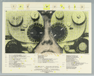 Poster features a photograph the face of a man with film projectors over his eyes. Below movie information. Above in black text with yellow and beige lettering: THE MOVIES.