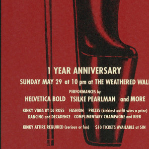 """Poster advertising """"Sin"""", opening at the Weathered Wall.  Features a side view of a foot in stiletto platform high heels, printed in black against red."""