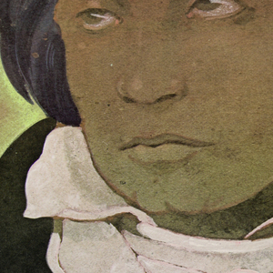 Poster depicts a portrait of Ludwig van Beethoven. Under portrait, lower left, signature of Beethoven in yellow. Text in black, upper left: DRAWINGS AND PAINTINGS / THE CARL SOLWAY GALLERY / 314 WEST FOURTH STREET / POSTERS / MECKLENBURG GARDENS / 302 EAST UNIVERSITY AVENUE / CINCINNATI / SEPT. 19–OCT. 15, 1980; lower margin: [in white] TWO EXHIBITIONS OF WORKS BY / [in green] MILTON GLASER.