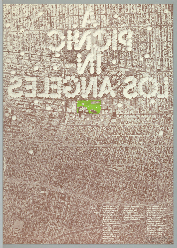 An aerial view of downtown Los Angeles printed in brown with the words A / Picnic / in / Los Angeles spelled backwards upper center. The letters are comprised of white balloons and thin lines simulate threads connecting them to a green area at center, on the ground. Three columns of text imprinted in white below.