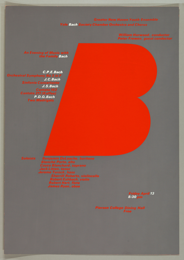 """LArge red leter """"B"""" dominatesa cool gray background.  Surrounding the letter, red and white san serif text giving details of the various programs and the musical soloists."""