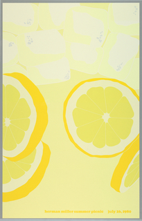 Poster depicts a close-up cropped view of a glass of lemonade; ice cubes and slices of lemon. Text in yellow: herman miller summer picnic  july 26, 1980.