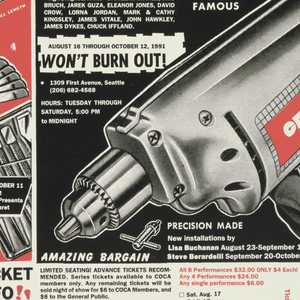 Poster with images and text interwoven throughout in imitation of an advertisement for industrial hardware. Title in white lettering on black: COCA (Center On Contemporary Art) PRESENTS / THE NIGHT GALLERY / COCA CABANA PERFORMANCE CABARET; other text includes information about cabaret performance, including a coupon at bottom right to send for tickets. Body of design features images of industrial tools, e.g., drills, wrenches, etc., rendered in black and white on red ground.