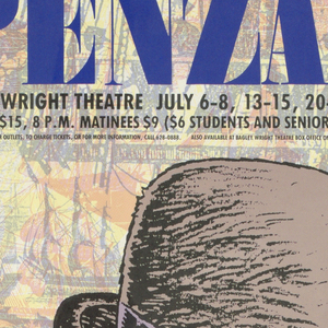 """Poster advertising """"The Pirates of Penzance"""", opening at Bagley Wright Theatre.  Featuring pink-faced man, mouth open in a wide grin, with scar on left cheek, mutton chops, and left earring.  Hat worn at angle, bandana beneath, conceals squinted eyes.  Seafaring engravings printed in blue and red in background."""
