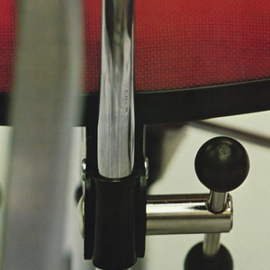 Poster depicts a close-up cropped view of three office chairs. Above, text in black: [logo] herman miller MKD chairs designed by jorgen rasmussen.