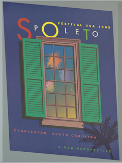 Parallelogram poster depicting a window reflecting fireworks, with pink pane and green open shutters on blue background [night sky] with silhouette of a palm tree in lower right corner. Above the window, in red, white, yellow and green text of varying sizes: SPOLETO; above, in yellow: FESTIVAL USA 1995. Below window, in pink text: CHARLESTON, SOUTH CAROLINA / [in green text:] A NEW PERSPECTIVE.