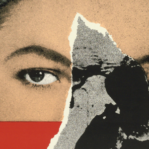 """Poster advertising Marsha Norman's """"'Night, Mother"""", opening at the Seattle Repertory Theatre.  Features a woman's head, her face colored, cut off by black border across center of face above the mouth.  The illusion of a tear in the poster over the left half of her face reveals a skull, in greyscale, completing her left eye, nose, and upper jaw."""